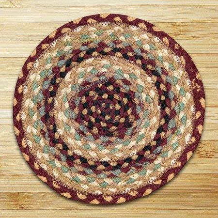 Burgundy, Gray & Cream Round Braided Rug 7.75'x7.75'