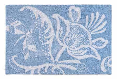 Eliza Lace Blue Hooked Rug