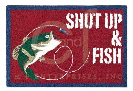 Gibson Lake Shut Up & Fish Hooked Rug