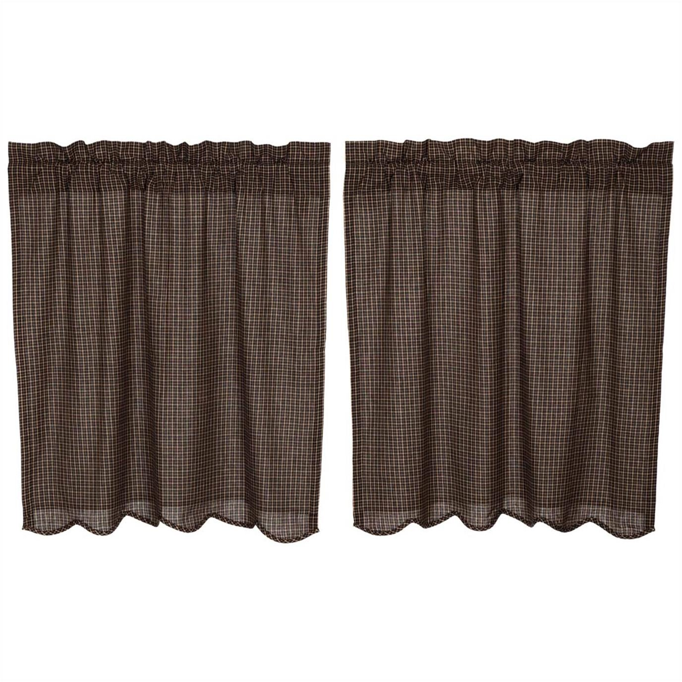 Kettle Grove Plaid Tier Scalloped Set of 2 L36xW36