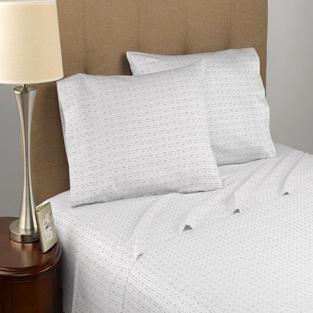 Modern Living Dotted Line T300 Certified Organic White Queen Sheet Set