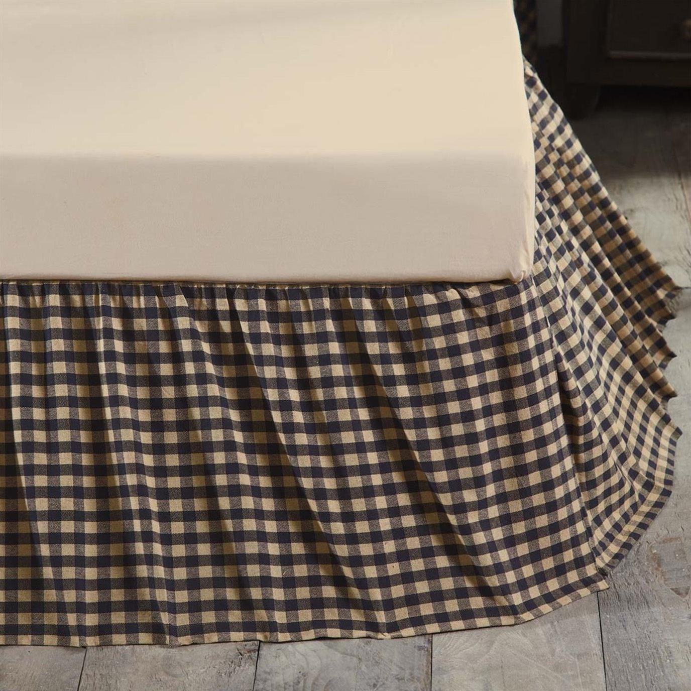 Navy Check King Bed Skirt 78x80x16