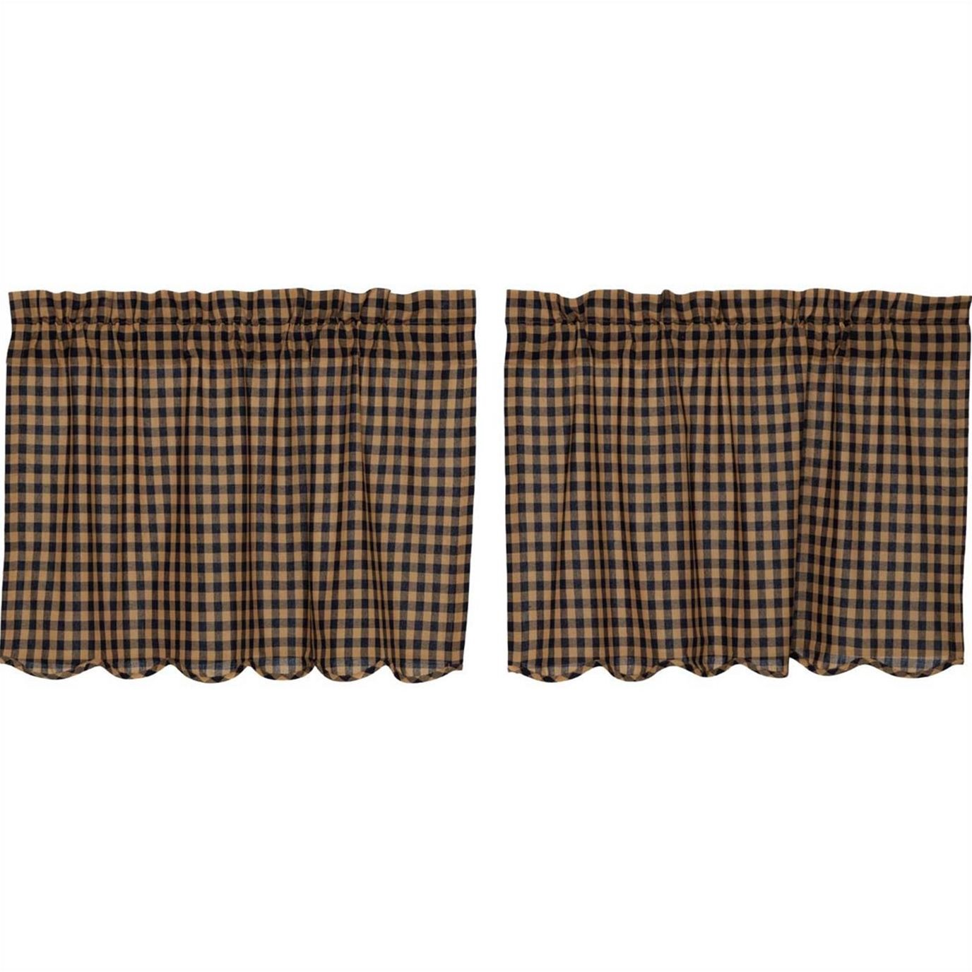Navy Check Scalloped Tier Set of 2 24x36