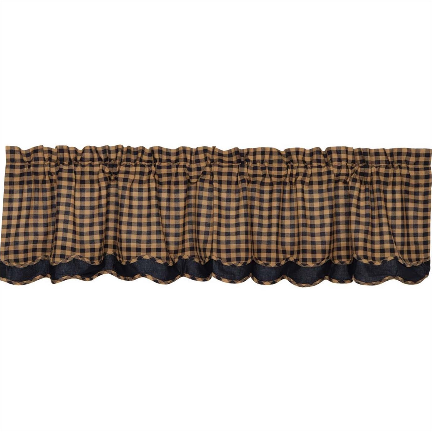 Navy Check Scalloped Layered Valance 16x72
