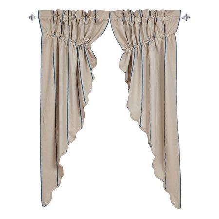 Charlotte Azure Scalloped Prairie Curtain Set of 2 63 x 36