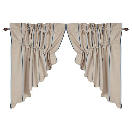 Charlotte Azure Scalloped Prairie Swag Set of 2 36 x 36 x 18