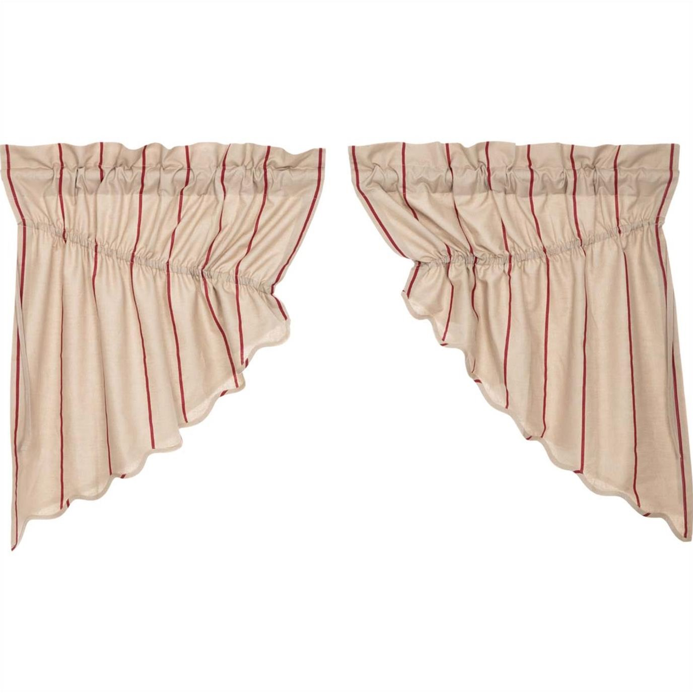 Charlotte Rouge Scalloped Prairie Swag Set of 2 36 x 36 x 18