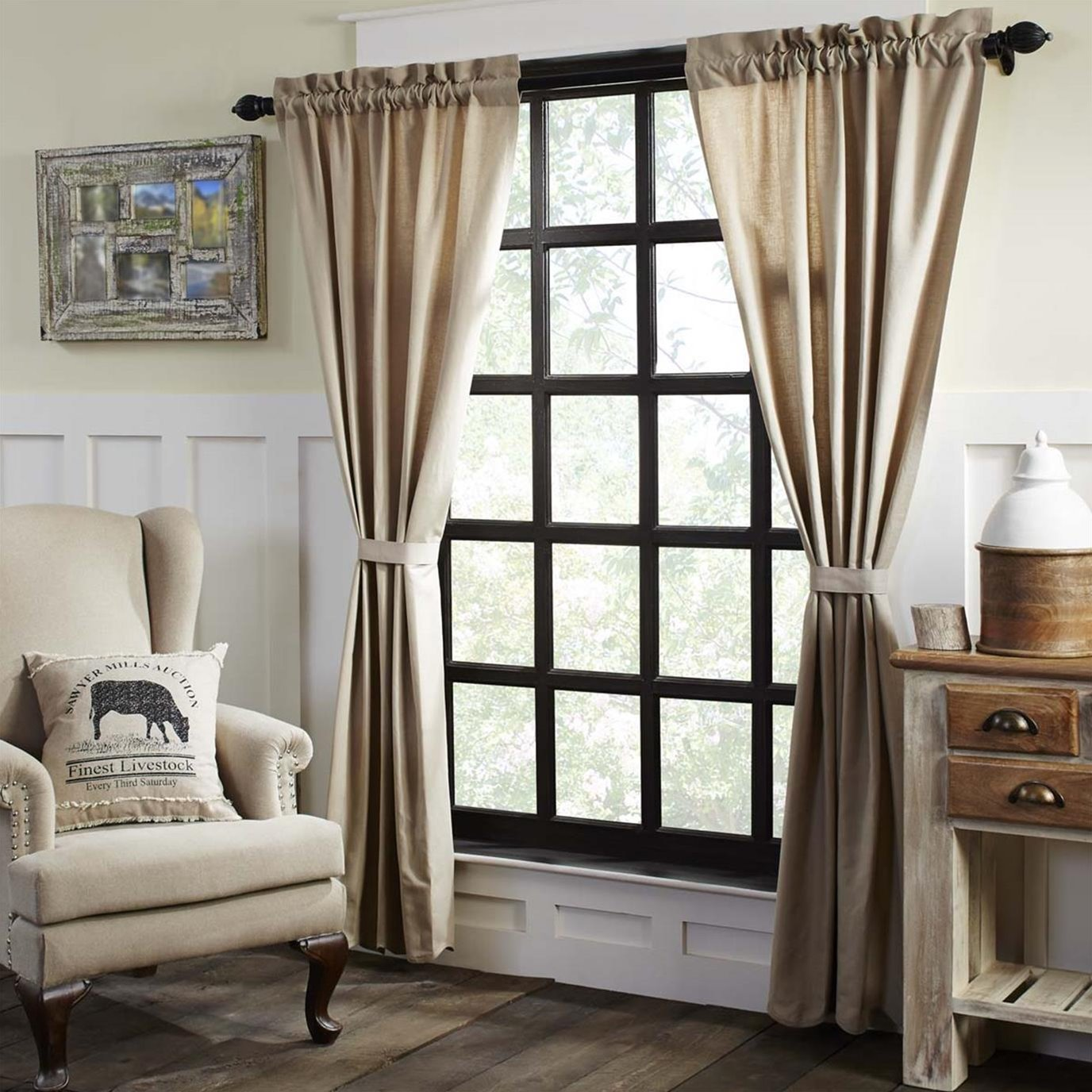 Charlotte Solid Natural Scalloped Panel Set of 2 84 x 40