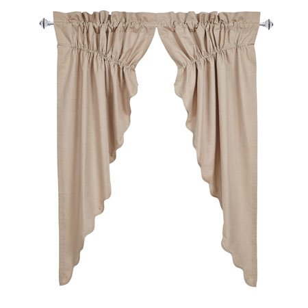 Charlotte Solid Natural Scalloped Prairie Curtain Set of 2 63 x 36