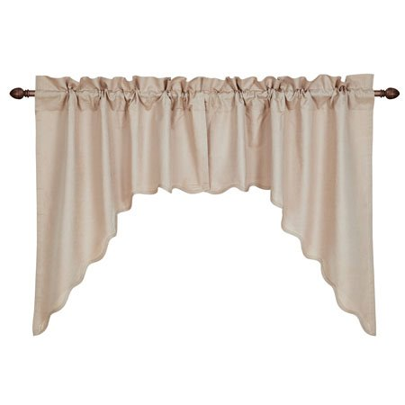 Charlotte Solid Natural Scalloped Swag Set of 2 36 x 36 x 16
