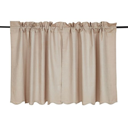 Charlotte Solid Natural Scalloped Tier Set of 2 36 x 36