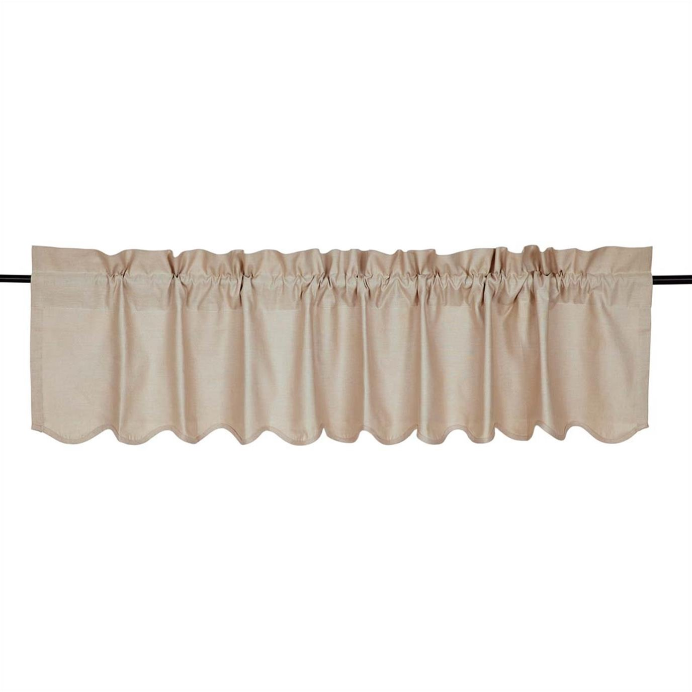 Charlotte Solid Natural Scalloped Valance