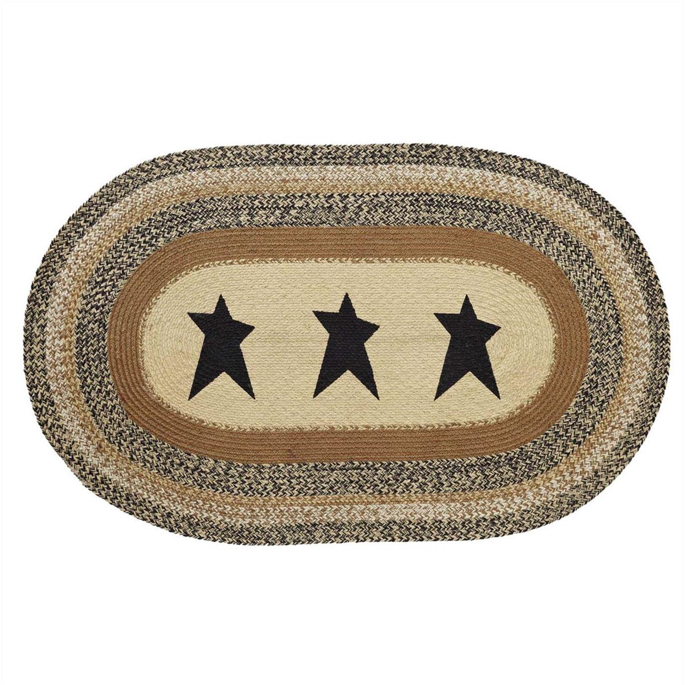 Kettle Grove Jute Rug Oval Stencil Star 36x60