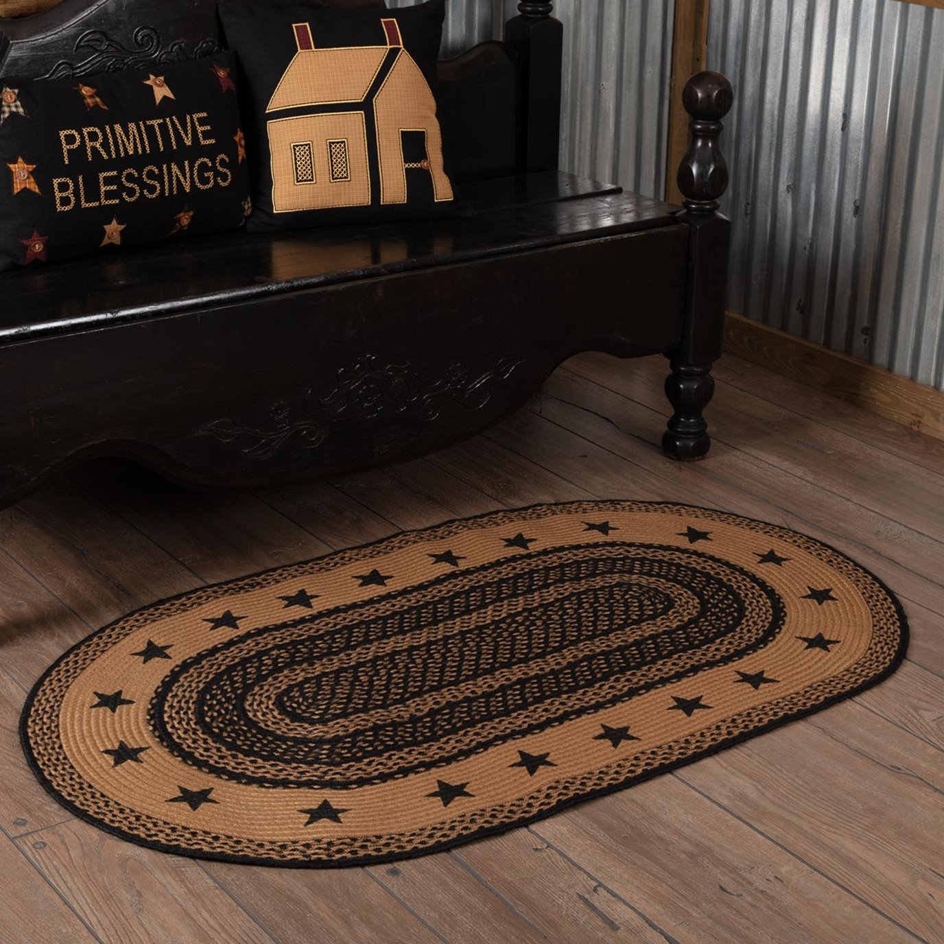 Farmhouse Jute Rug Oval Stencil Stars Border 36x60