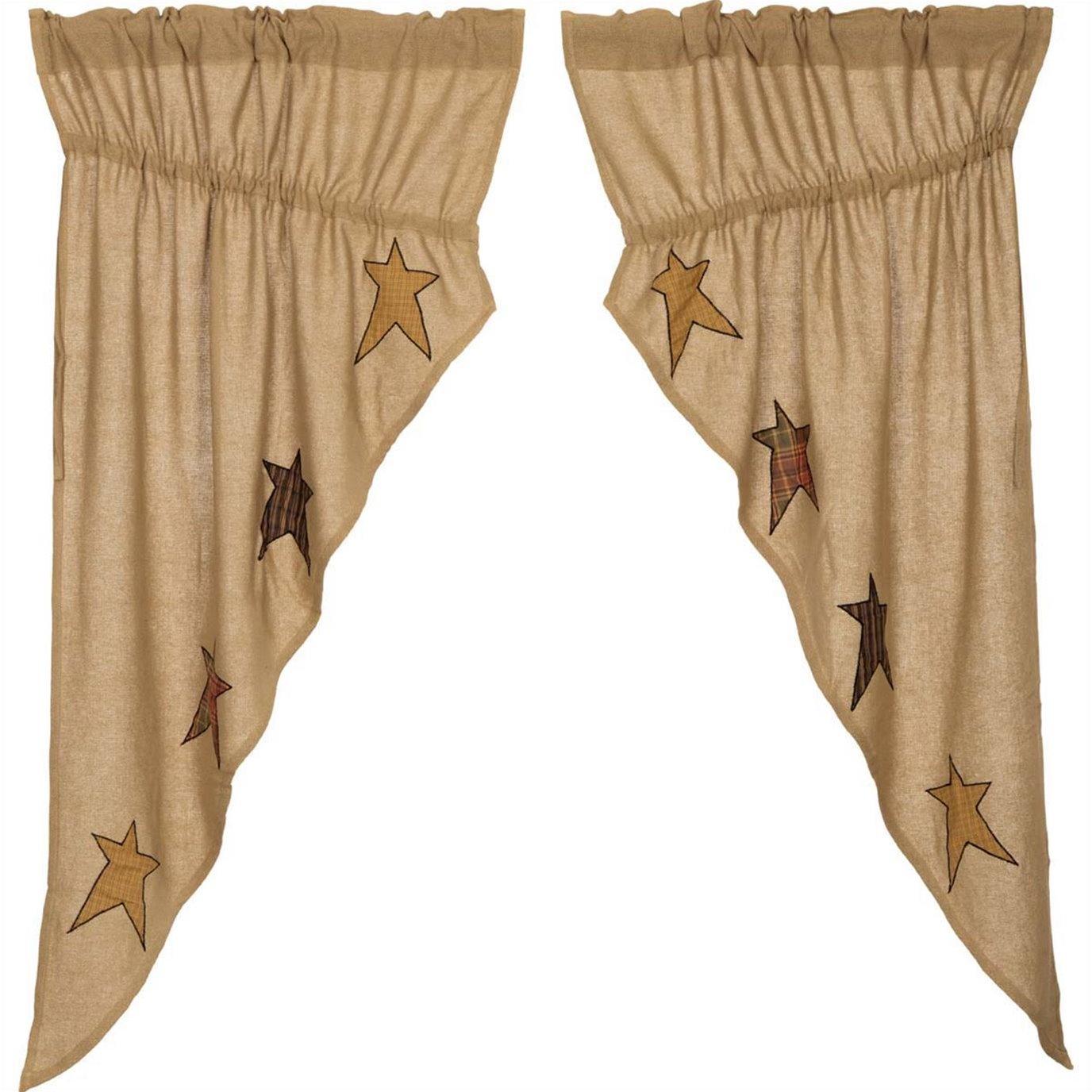 Stratton Burlap Applique Star Prairie Curtain set of 2 panels 63x36x18