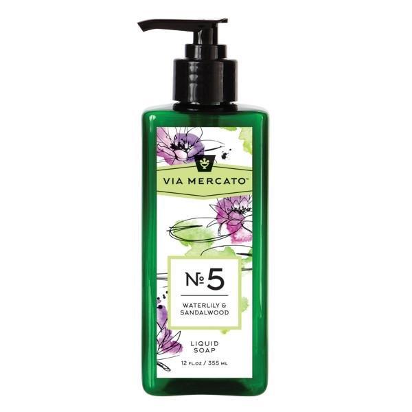 Via Mercanto No. 5 Waterlily & Sandalwood Liquid Soap