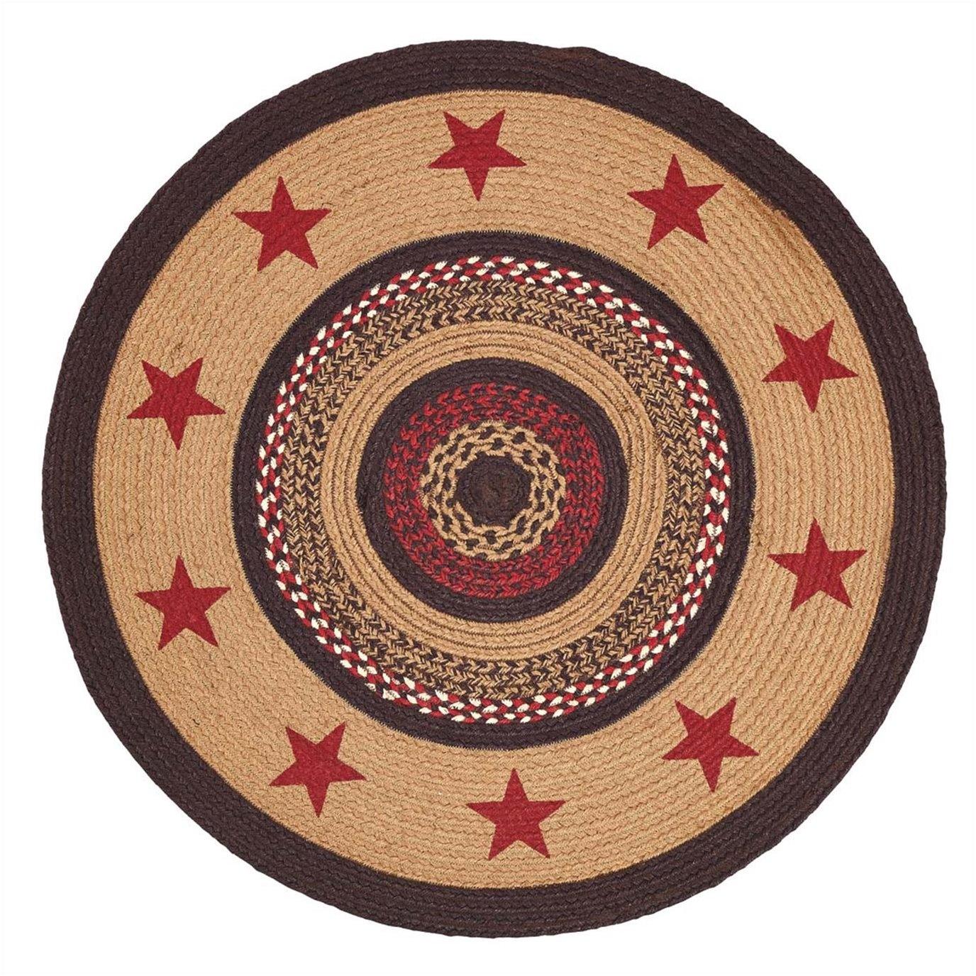Landon Jute Rug Stencil Stars 3ft Round By Mayflower