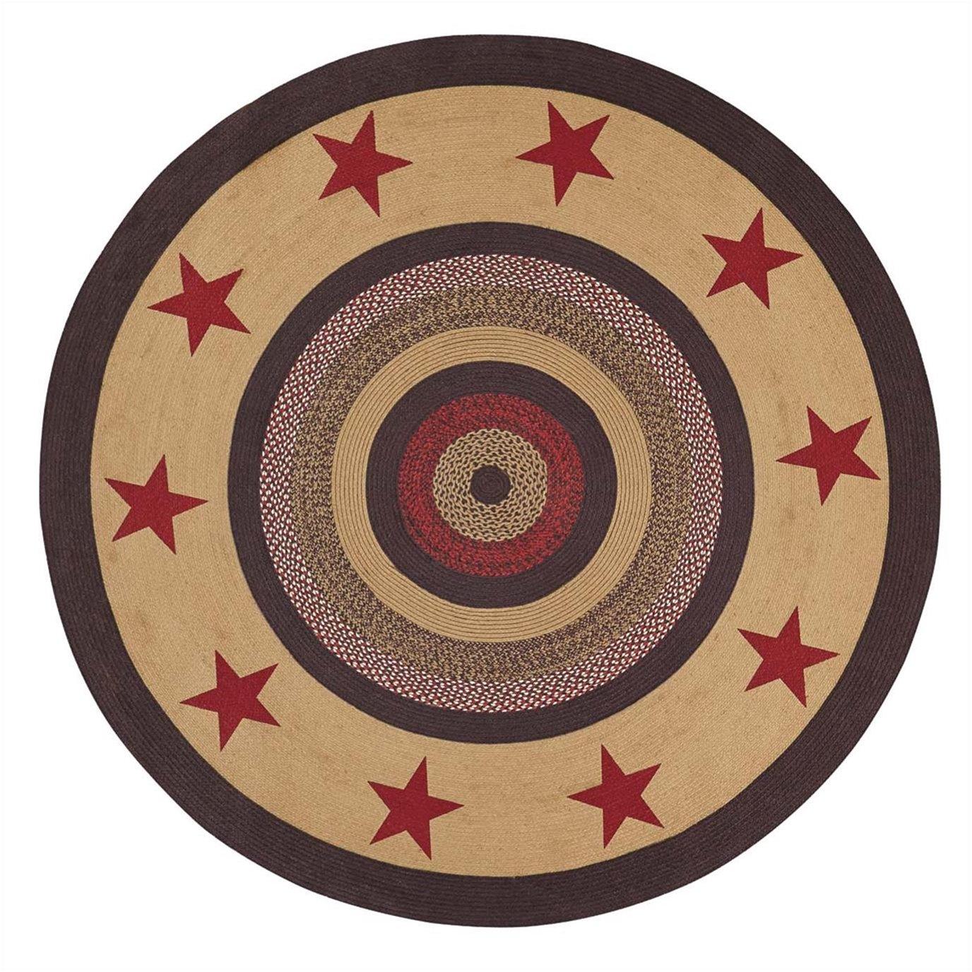 Landon Jute Rug Stencil Stars 6ft Round
