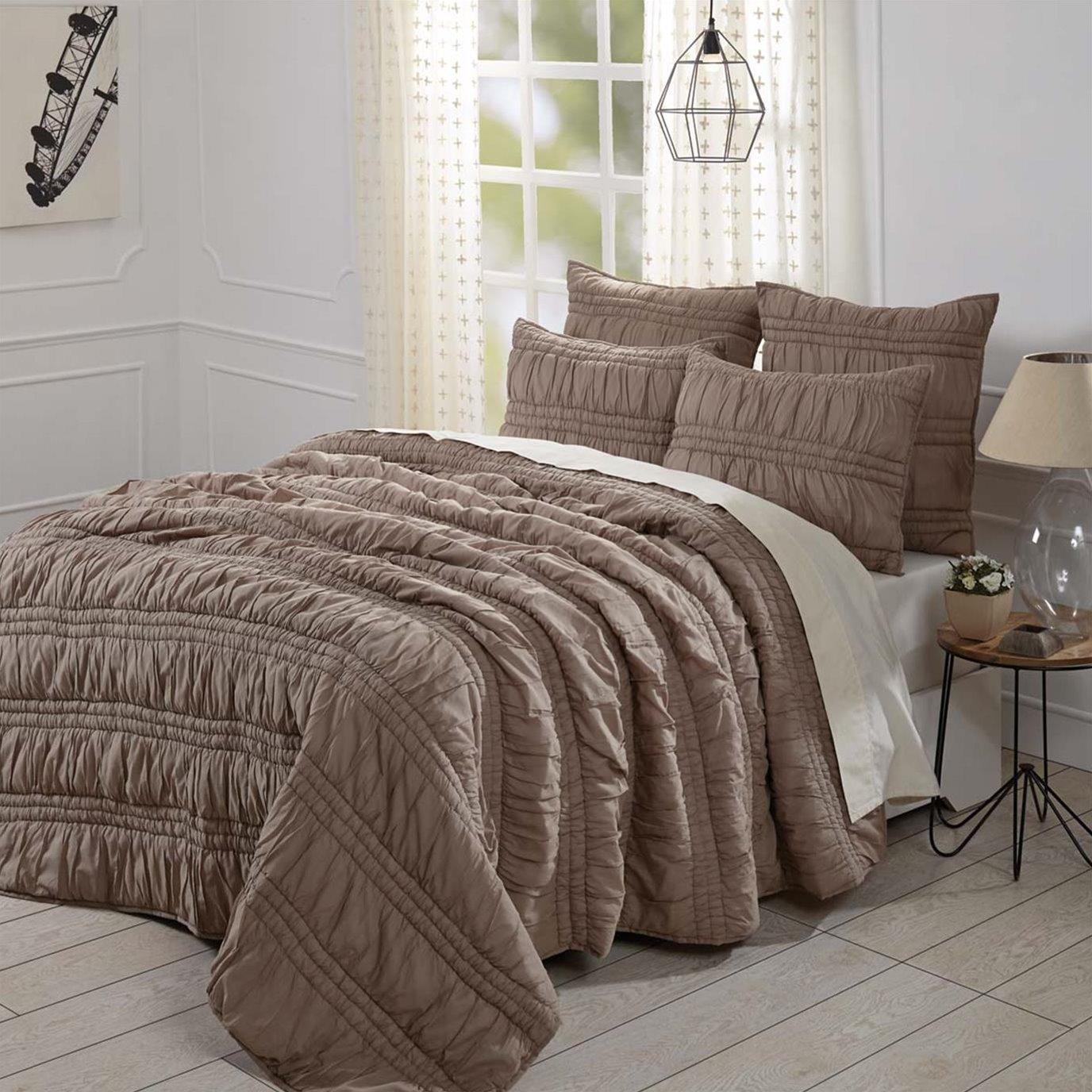 Natasha Warm Taupe King Set; Quilt 105Wx95L-2 Shams 21x37