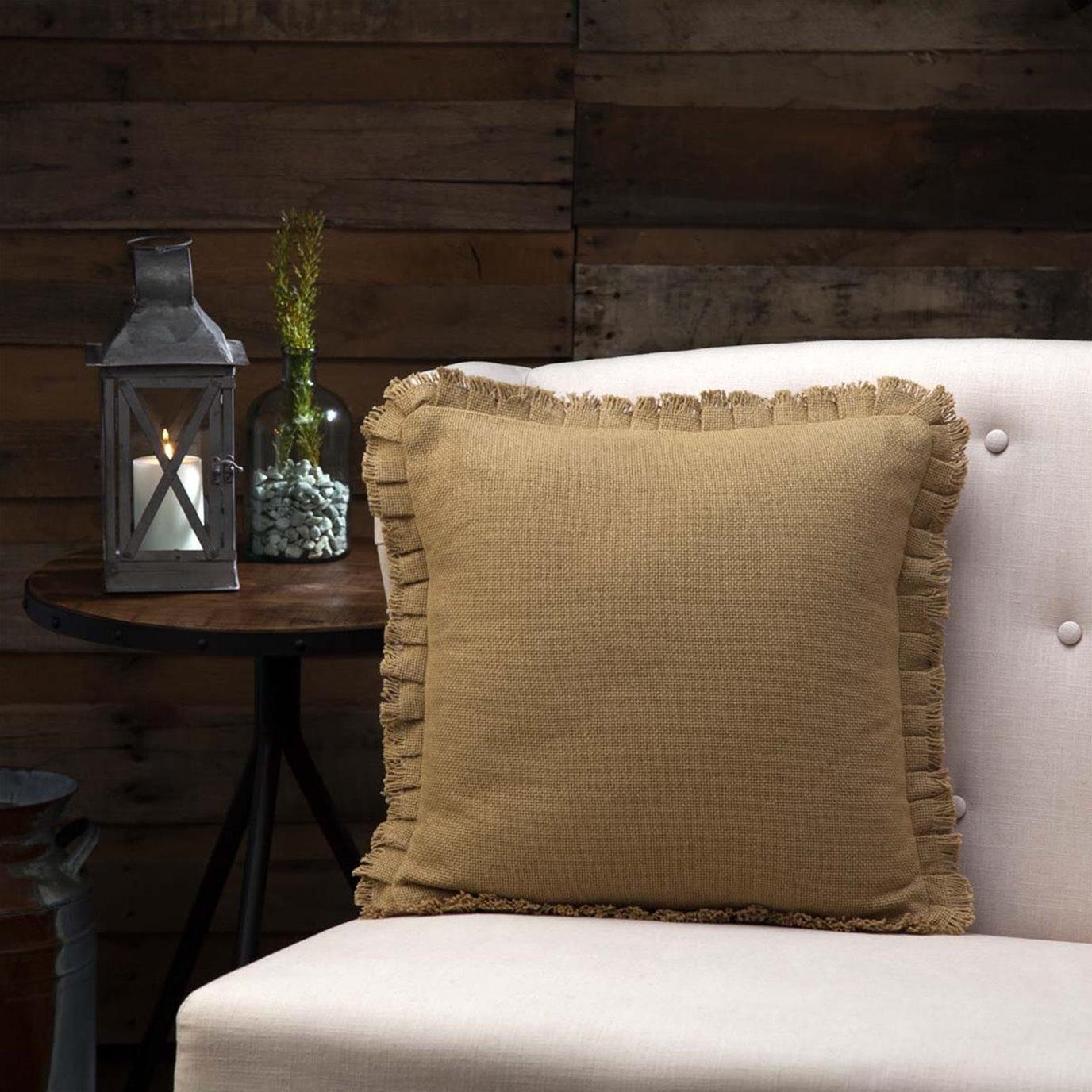 Burlap Natural Fringed Pillow