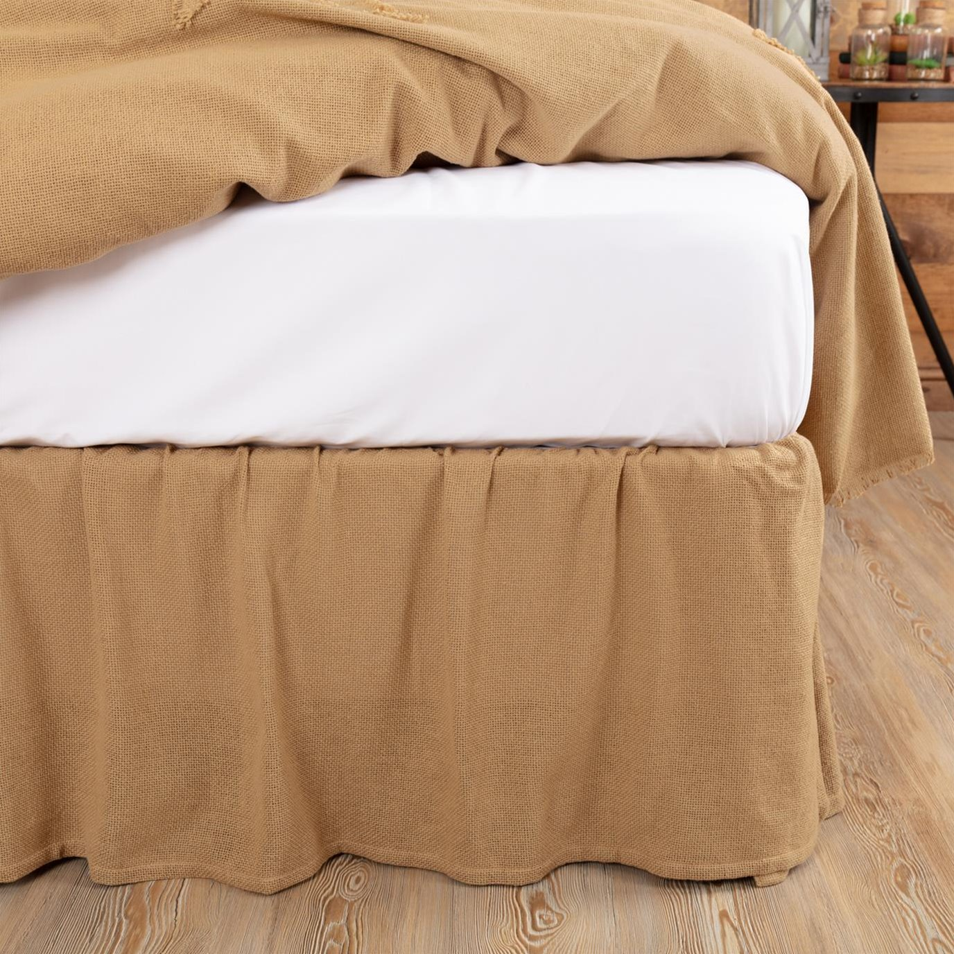 Burlap Natural Ruffled Queen Bed Skirt