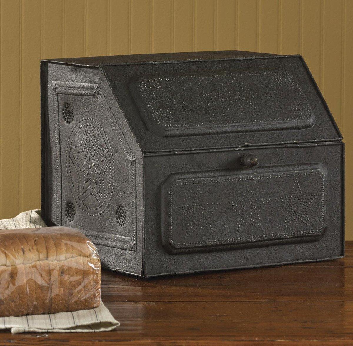 Black Metal Pierced Star Bread Box