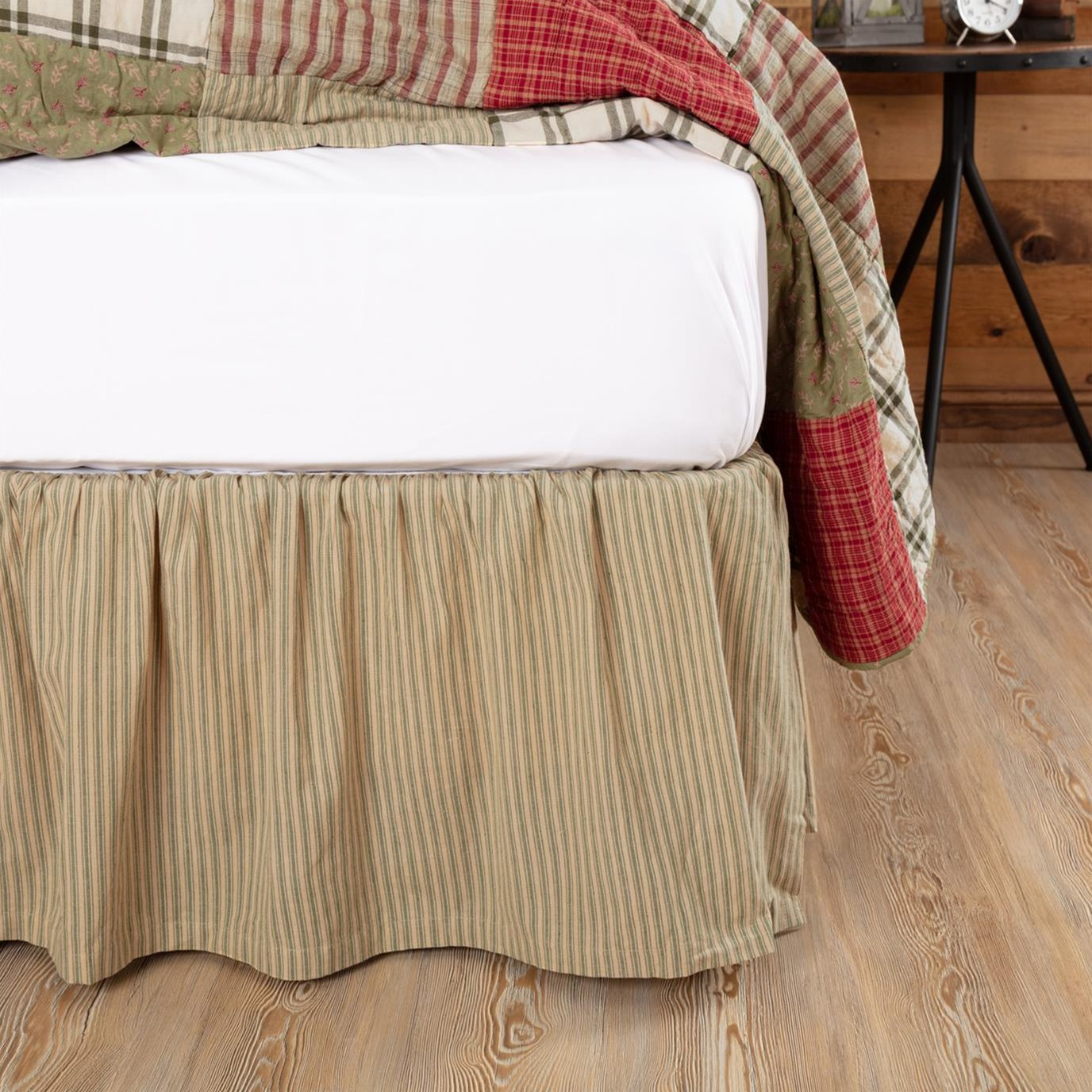 Prairie Winds Green Ticking Stripe King Bed Skirt 78x80x16