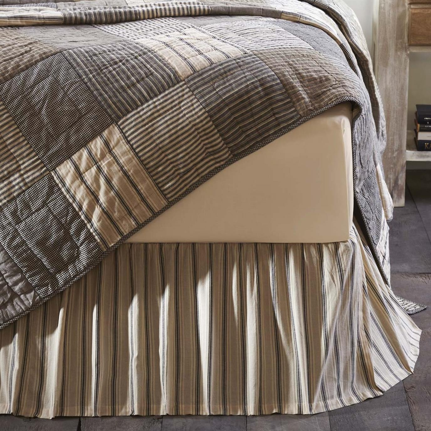 Sawyer Mill Charcoal Twin Bed Skirt 39x76x16