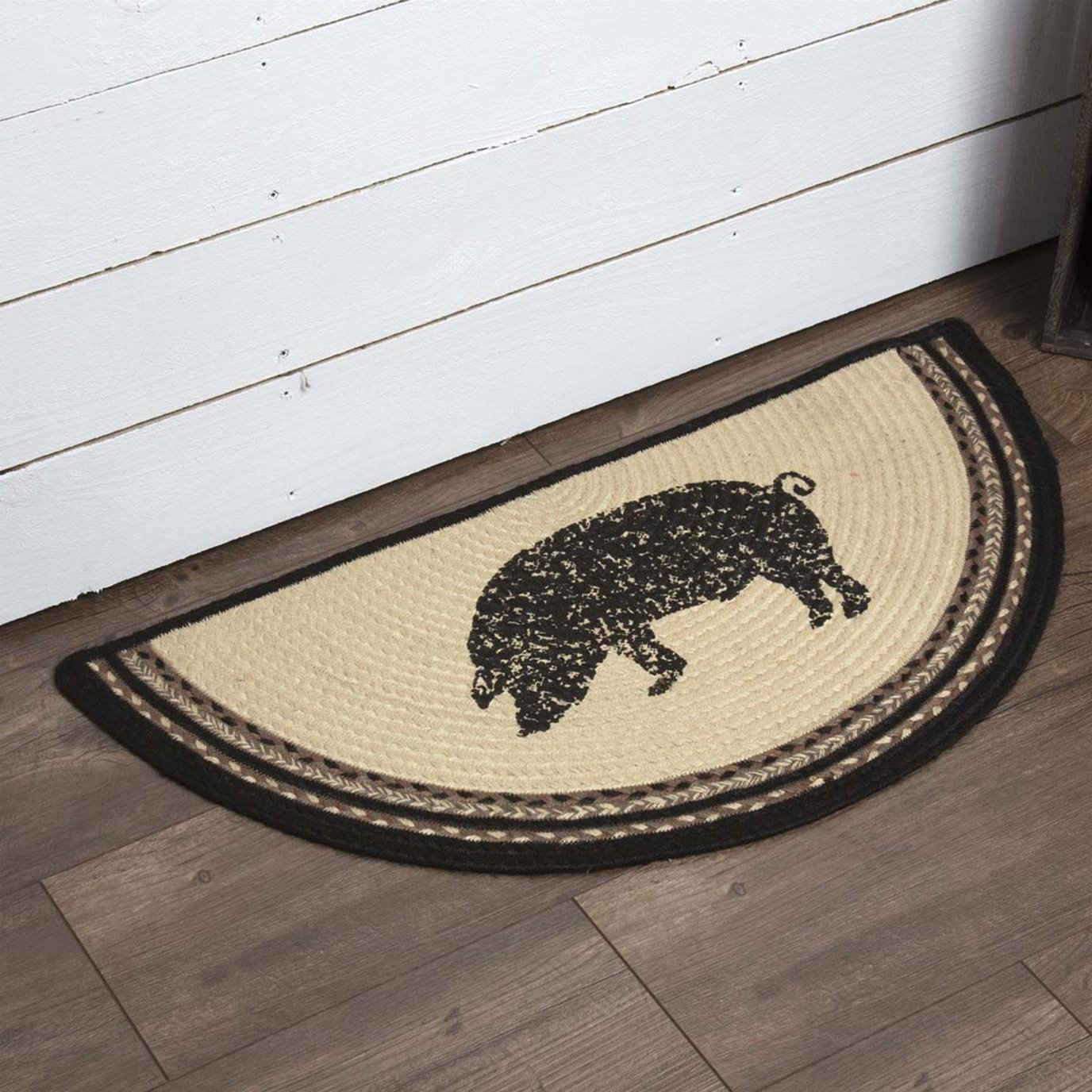 Sawyer Mill Charcoal Pig Jute Rug Half Circle 16.5x33