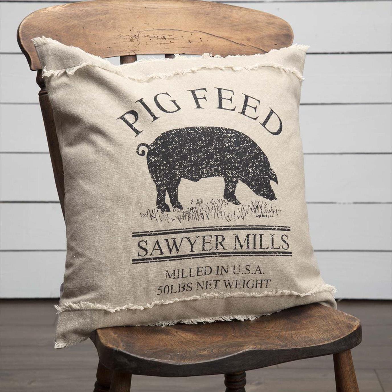 Sawyer Mill Charcoal Pig Pillow 18x18