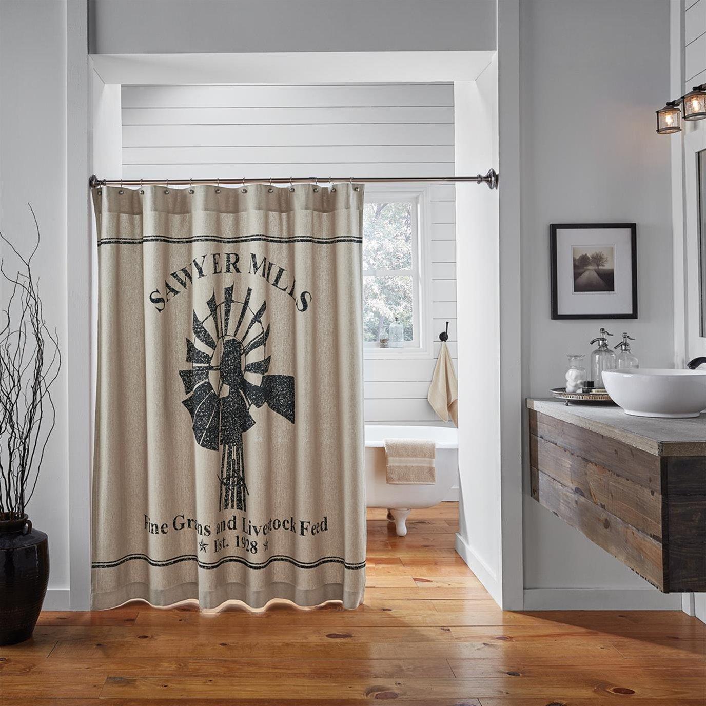 Sawyer Mill Charcoal Windmill Shower Curtain 72x72