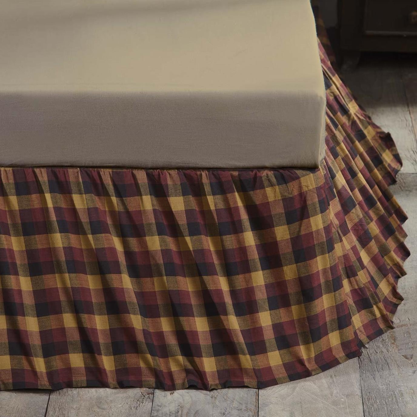 Heritage Farms Primitive Check King Bed Skirt 78x80x16