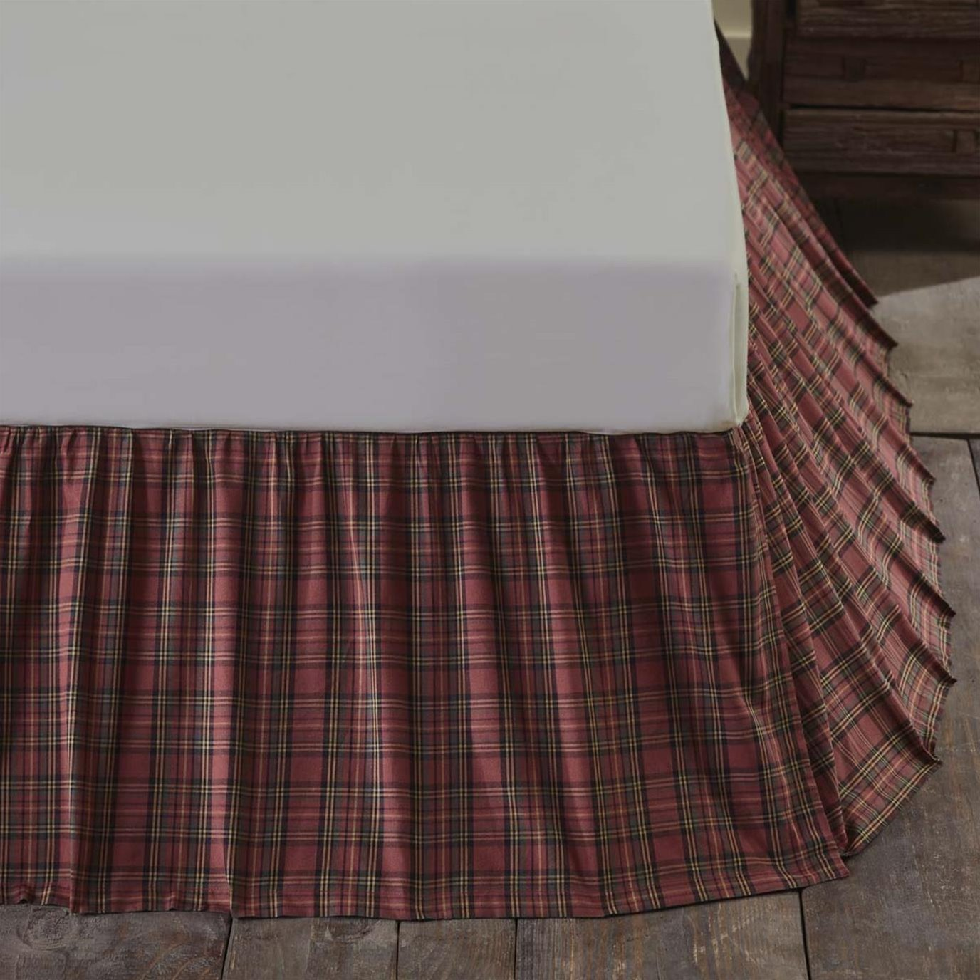 Tartan Red Plaid Twin Bed Skirt 39x76x16