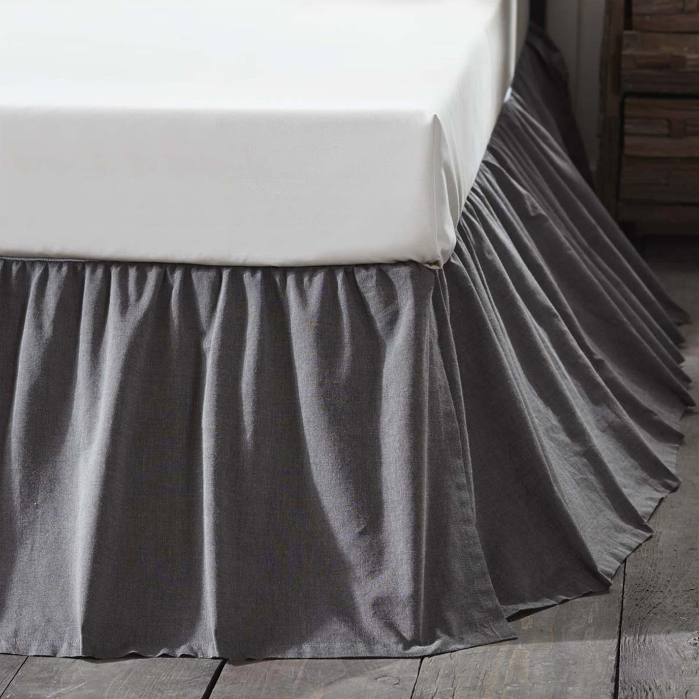 Black Chambray Twin Bed Skirt 39x76x16