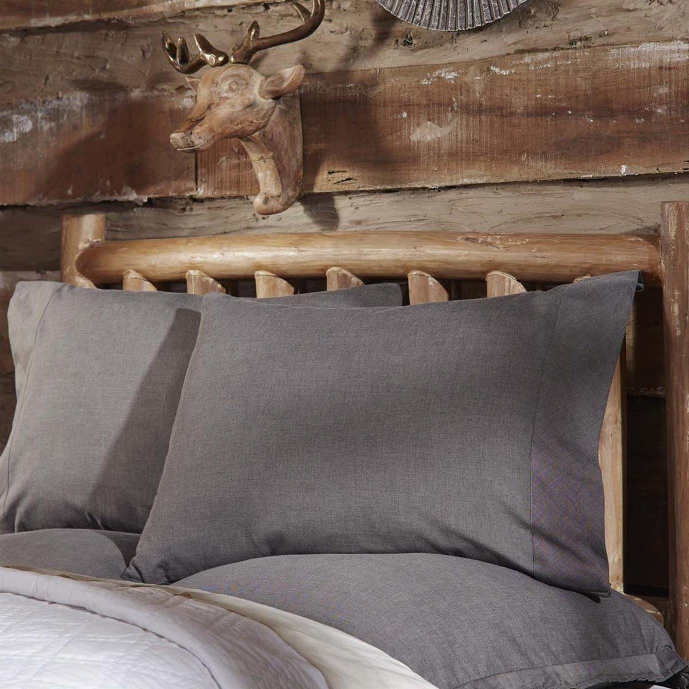 Black Chambray Standard Pillow Case Set of 2 21x30