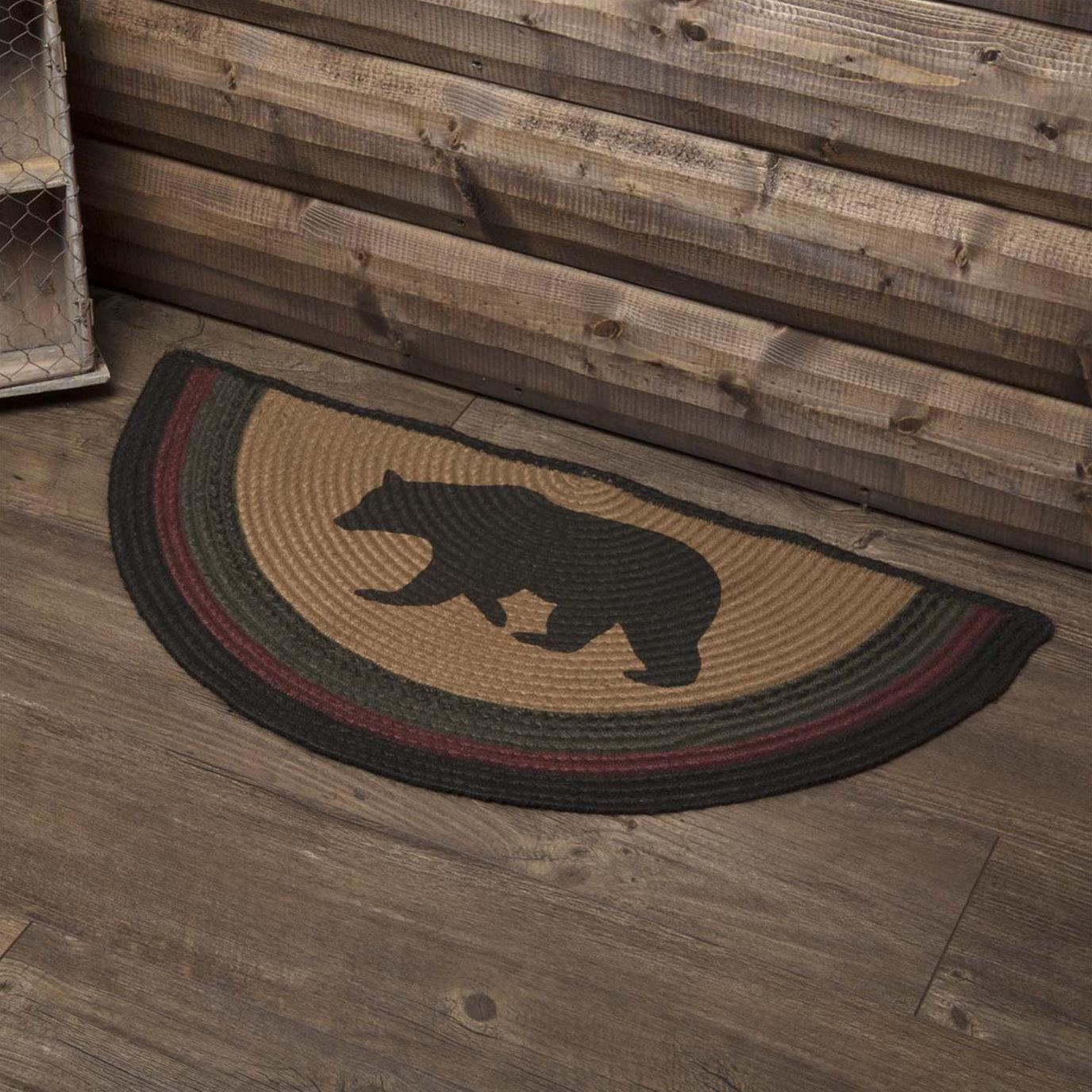 Wyatt Stenciled Bear Jute Rug Half Circle 16.5x33