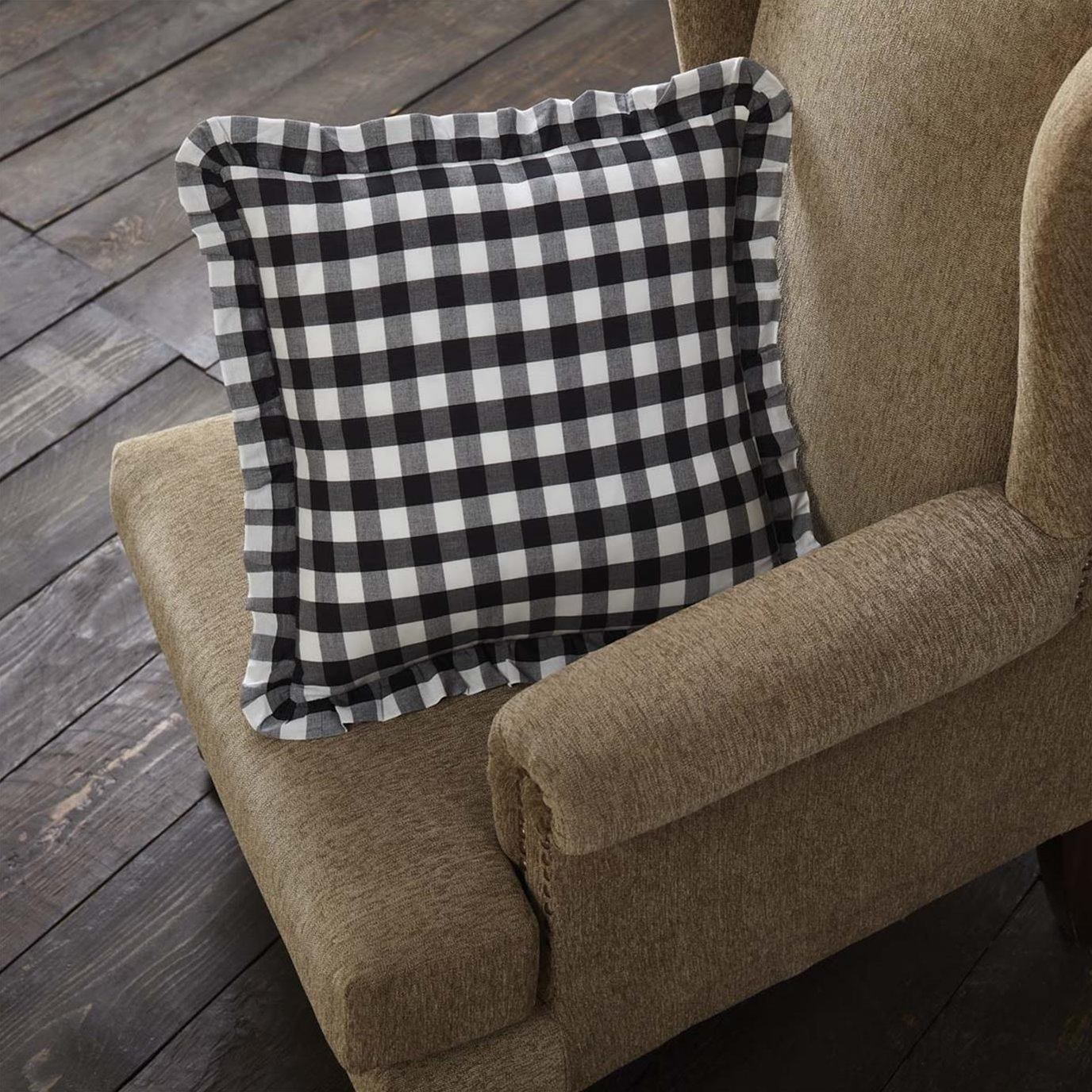 Annie Buffalo Black Check Ruffled Fabric Pillow 18x18
