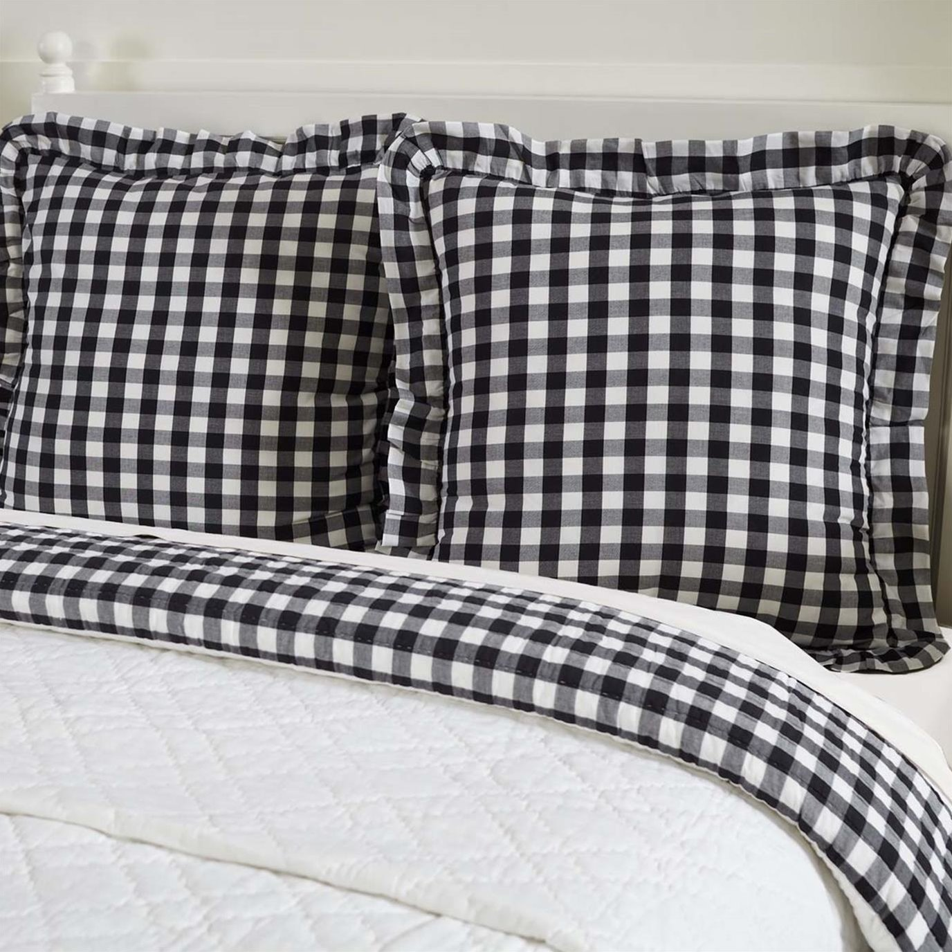 Annie Buffalo Black Check Fabric Euro Sham 26x26