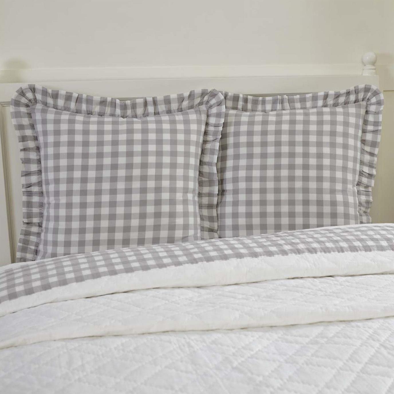 Annie Buffalo Grey Check Fabric Euro Sham 26x26