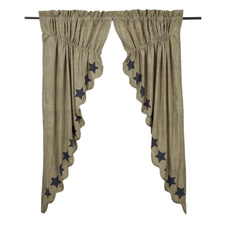 """Vincent Scalloped Prairie Curtain Set of 2 63""""x36"""""""