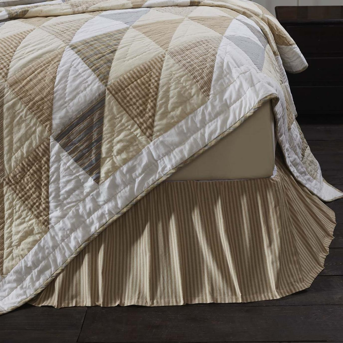 Joanna Ticking Stripe Twin Bed Skirt 39x76x16