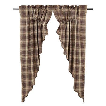 """Dawson Star Scalloped Prairie Curtain Set-2 63""""x36"""""""