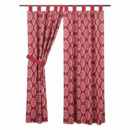 "Paloma Crimson Tab Top Short Panel Set of 2 63""x36"""