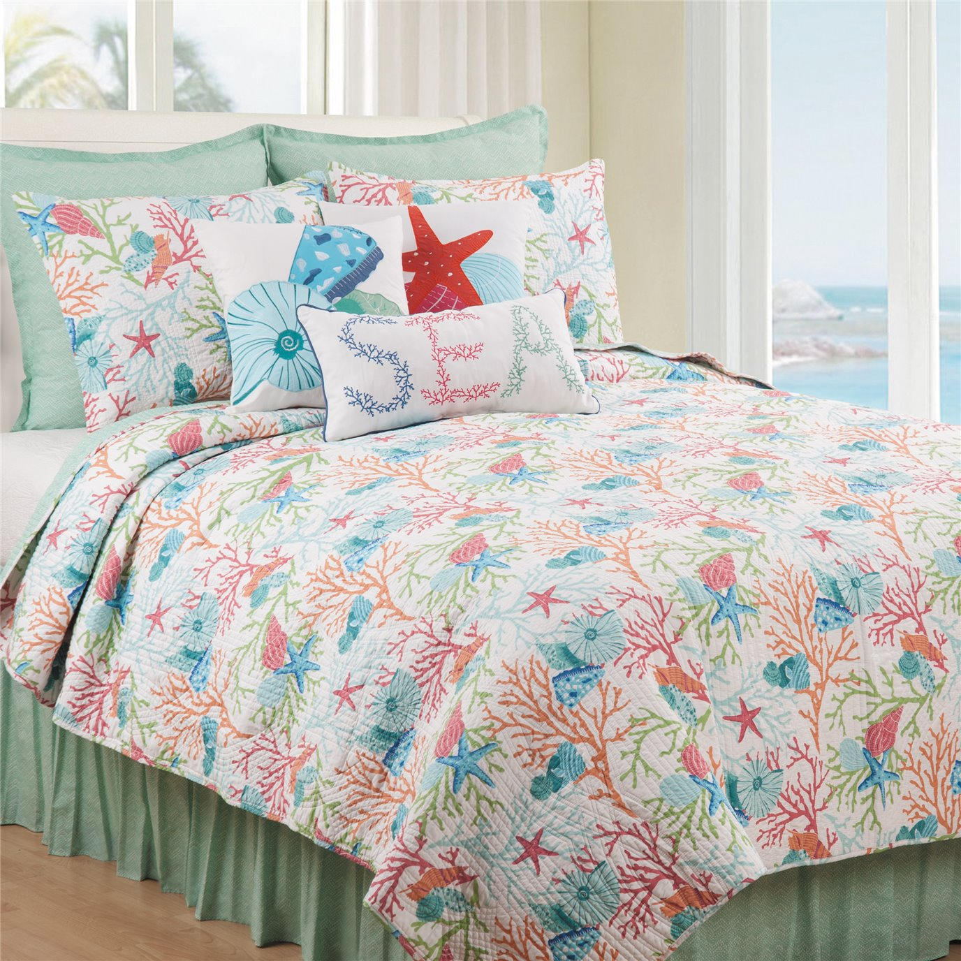Caribbean Splash 2 Piece Twin Quilt Set
