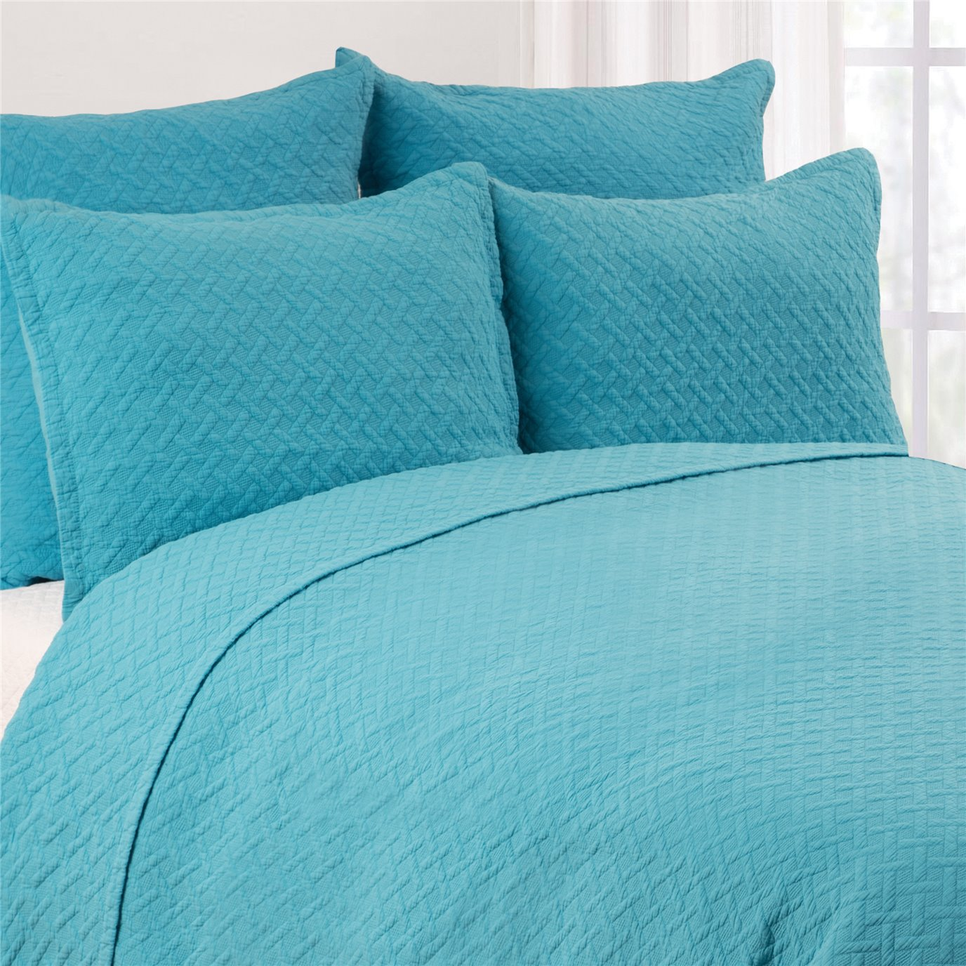 Basketweave Azul 3 Piece King Quilt Set