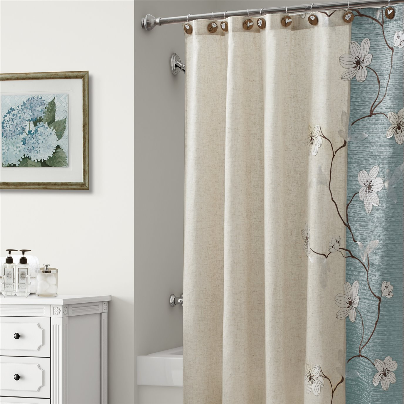 Magnolia Shower Curtain Seafoam 70X72 by Croscill