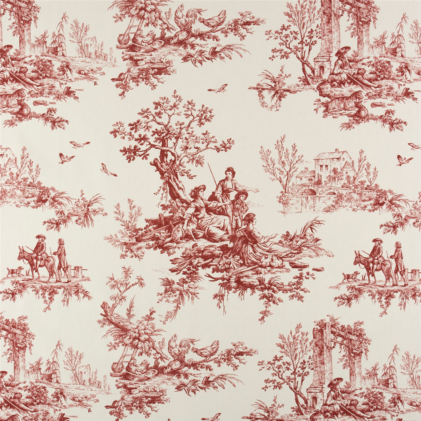 Bouvier Red Toile Main Print Fabric