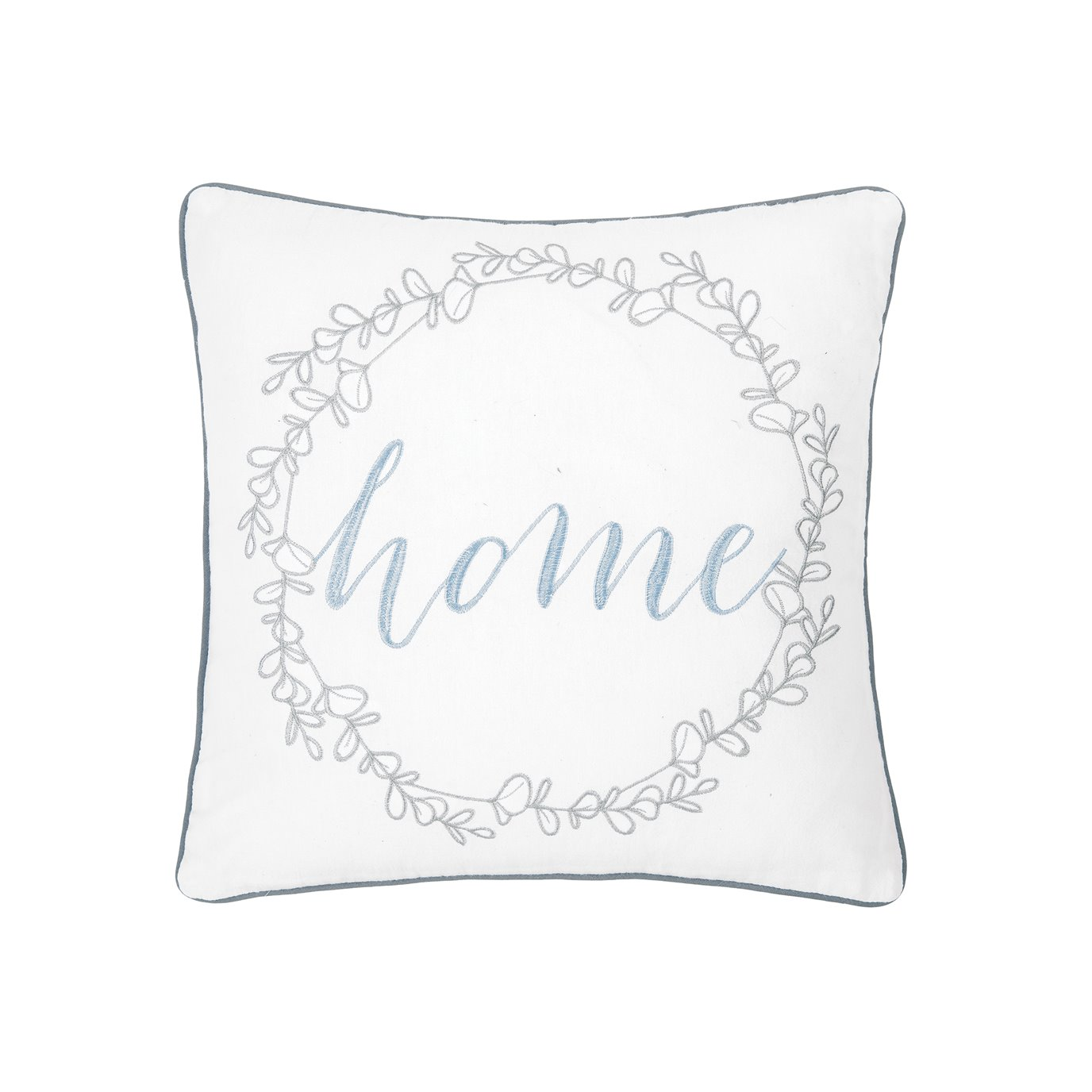 Embroidered Home Wreath Pillow