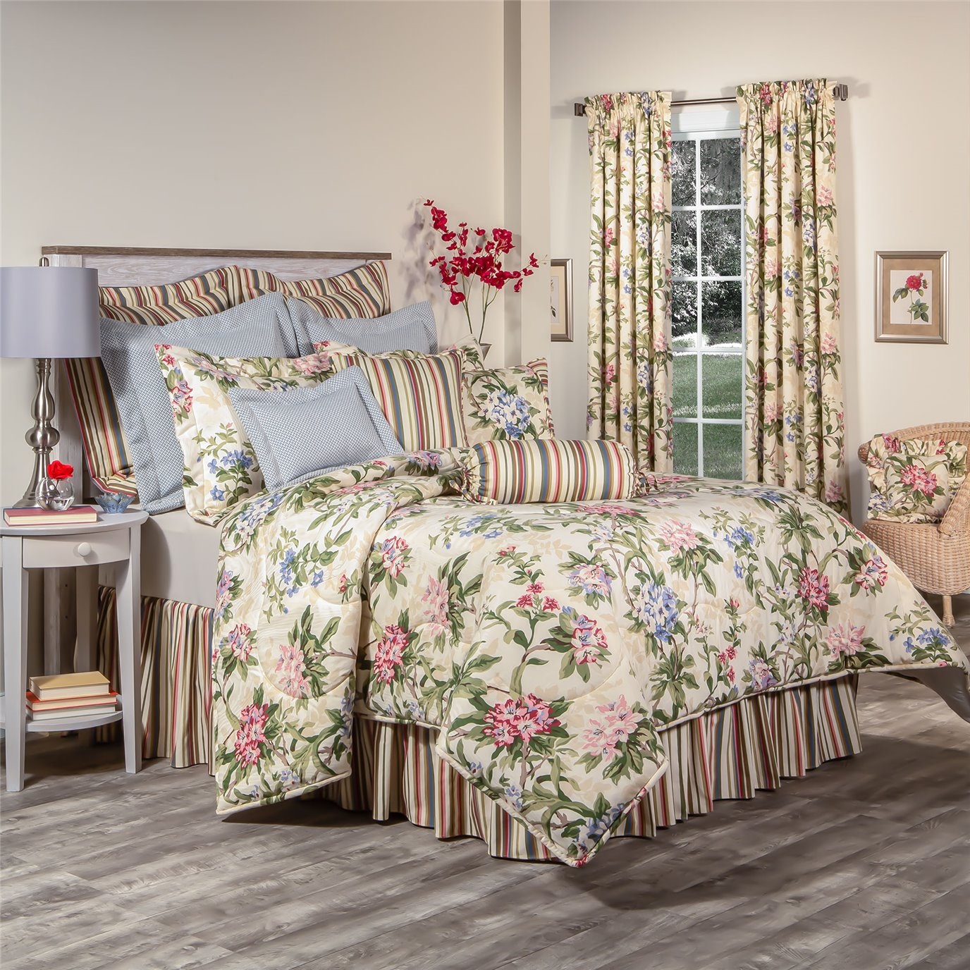 """Hillhouse Cal King  Comforter Set with 18"""" Bed Skirt in Stripe"""