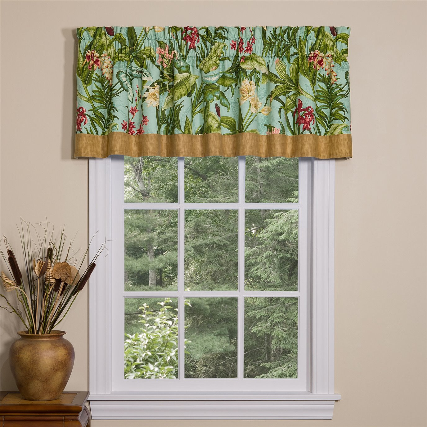Wailea Coast Bloom Tailored Valance with Band